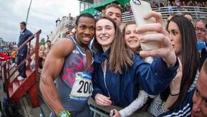 Yohan Blake poses for a selfie at Morton Stadium