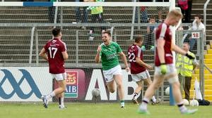 Fermanagh's Richard O'Callaghan celebrates after Tomas Corrigan's goal