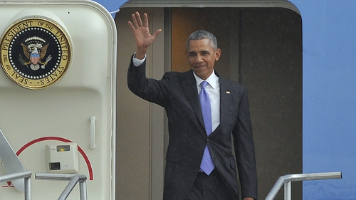 Barack Obama arrived in Addis Ababa airport after a short trip from Kenya