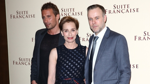 Saul Dibb (right) with Suite Française stars Kristin Scott Thomas and Matthias Schoenaerts