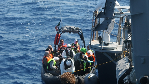 The LÉ Niamh assisted in the rescue of people from a wooden barge recently