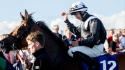 Wayne Lordan acknowleges the Galway crowd after leading Hint Of A Tint h