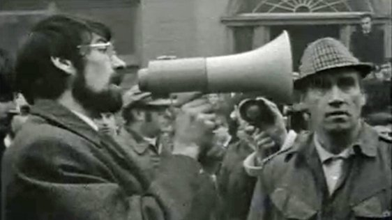 Tom Keane of the People's Democracy addresses the protesters on 11 January 1969.