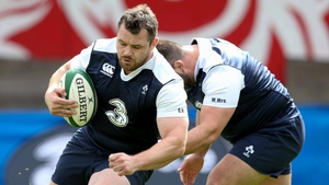 Cian Healy and Marty Moore at Ireland training