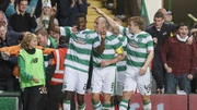 Dedryck Boyata celebrates after grabbing the only goal of the game at Celtic Park