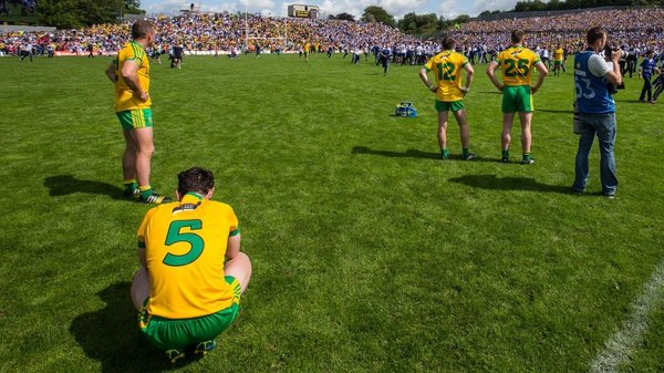 Donegal players after the Ulster final defeat to Monaghan
