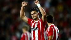 Southampton goalscorers  Graziano Pelle and Dusan Tadic celebrate