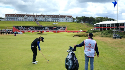 Lydia Ko plays her approach to the 18th en route to an opening round 66 at Turnberry