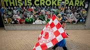 A young Tyrone fan arrives at Croke Park