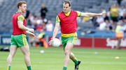 Donegal's Michael Murphy warms up with the team