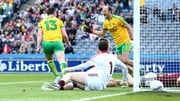 Donegal's Patrick McBrearty celebrates scoring the opening goal with Colm McFadden