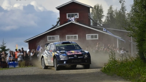 Jari-Matti Latvala guides his Volkswagen through Jyvaskyla