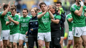Tomás Corrigan of Fermanagh applauds their fans after the match