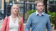 Tom Hayes and his wife Sarah arriving at the court in London today