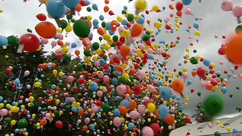 Thousands of balloons were released as part of a charity fundraiser in Co Galway