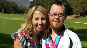 Caitriona Perry with golfer Paul Kirrane