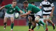 Jordi Murphy in action for an Ireland XV against the Barbarians in May