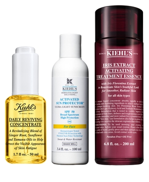 Kiehl's Daily Reviving Concentrate, Activated Sun Protector and Iris Extract Activating Treatment Essence