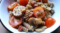 Pasta Salad with Chorizo and Blue Cheese - This is a rich pasta salad, bursting with flavour. Full of nutrients and packed with protein to keep you fuller for longer! (Can be a gluten-free recipe if made with Leaves' Pasta With Benefits.)