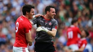 Niall Morgan (R) after Tyrone's All-Ireland quarter-final win over Monaghan last year