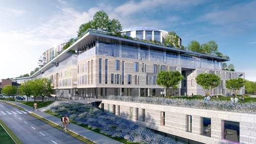 An artist's impression of the new National Children's Hospital on the grounds of St James Hospital in Dublin