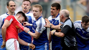 Tyrone's Tiernan McCann received plenty attention from the Monaghan players following the sending off of Darren Hughes