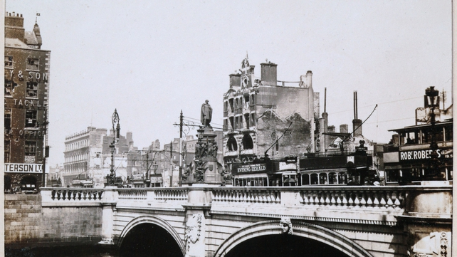 Damage caused to Eden Quay during the Easter Rising