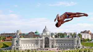 Gary Hunt in action at the high diving final at the FINA World Championships in Kazan