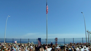 The flag was raised over the building for the first time in 54 years