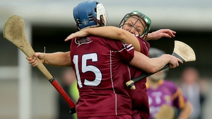 Molly Dunne and Ailish O'Reilly of Galway celebrate at the final whistle
