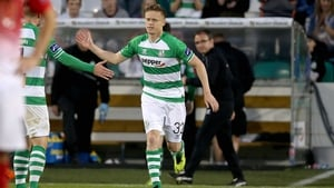 Damien Duff made his first appearance for Shamrock Rovers against Cork City on Monday evening