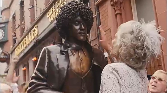 Phil Lynott Statue and Philomena Lynott