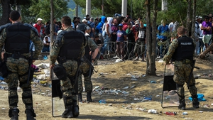 Riot police have been deployed to the area by Macedonian authorities