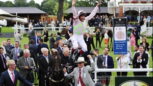 Frankie Dettori celebrates Max Dynamite's victory at York with one of his trademark flying dismounts