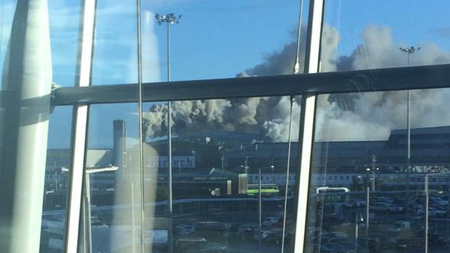 Smoke is seen from one of the terminal buildings at Dublin Airport (Pic: Pearse Cromwell)