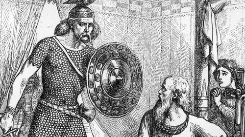 The coins were produced around the time Brian Boru (right) defeated a viking force in the Battle of Clontarf