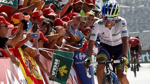 Esteban Chaves on his way to winning the sixth stage of the Vuelta