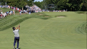 Bubba Watson plays his second shot on the 17th