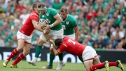 Jamie Heaslip in possession against Wales