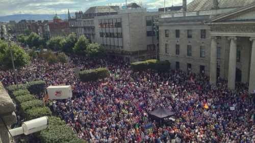 Thousands of people gathered on O'Connell Street