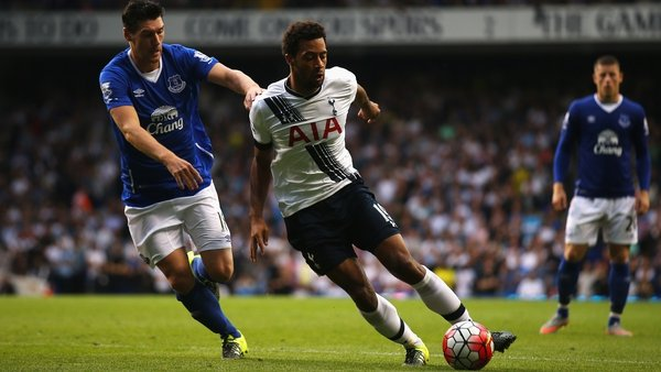 Moussa Dembele of Tottenham is shadowed by Everton's Gareth Barry