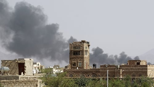 Smoke billows from a military base hit during an air strike in Yemen earlier this month