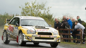Peadar Hurson and Damien Connolly in their Subaru WRC