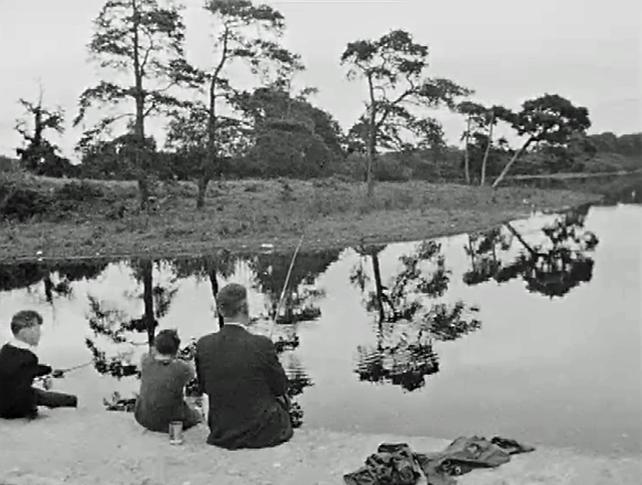 Fishing at the lake shore in Virginia, County Cavan (1965)