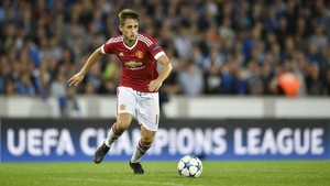 Adnan Januzaj in action for Manchester United against Club Brugge in the Champions League