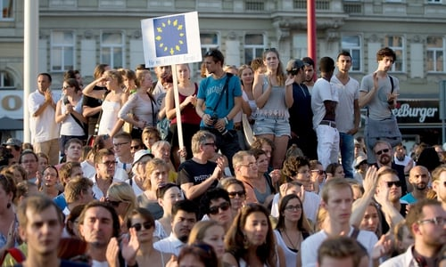 Demonstrators in Vienna, Austria calling for more rights for refugees
