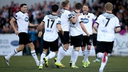 Dundalk players celebrate Ronan Finn's opener against his former side at Oriel Park