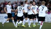 Dundalk players celebrate Ronan Finn's opener aga