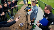 Roy Keane speaking to the media after training today