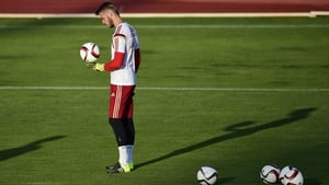 David De Gea training with Spain yesterday